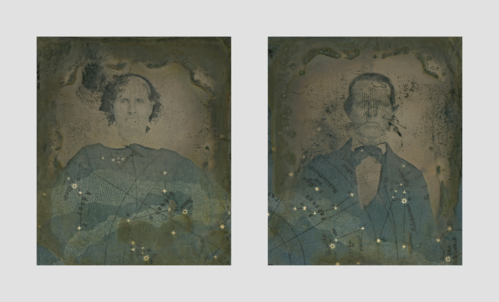 "Greg Sand and Billy Renkl -   Cassiopeia and Cepheus   - Found Ambrotypes with Collage (3.125"" x 5.75"")  $675"