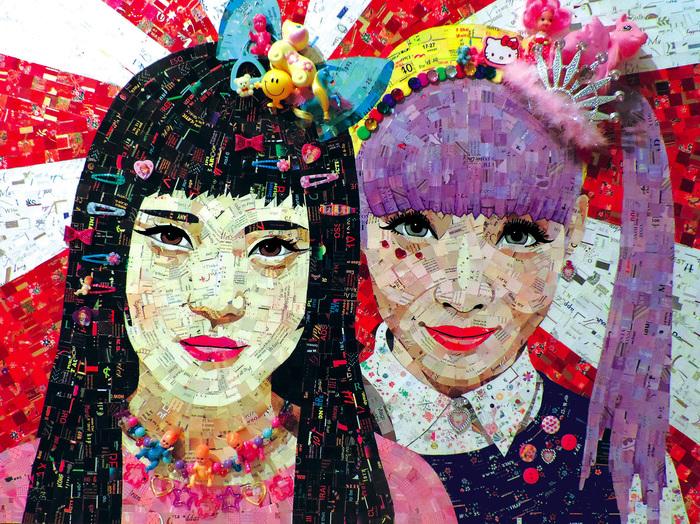 "Sandhi Schimmel Gold -   Harajuku Kawaii!   - Junk Mail Mosaic/Assemblage (30"" x 40"")  $4800"