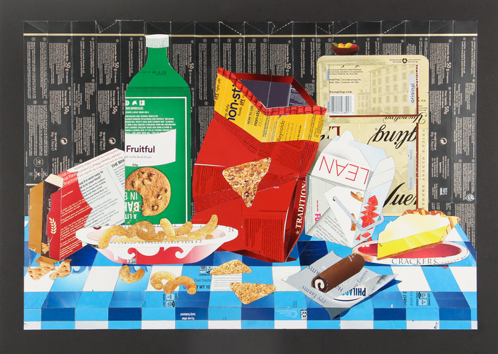 "Annie H. Weidman -   Still Life with Cheetos   -Preprinted paperboard boxes (22"" x 30"")  $1300"