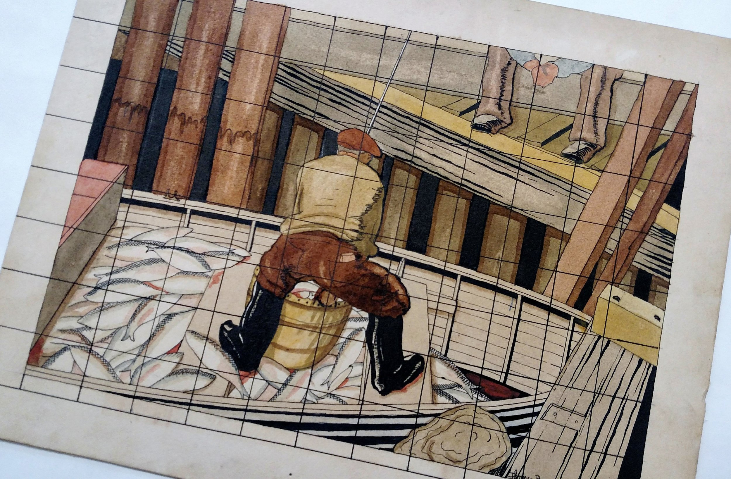 Mural Sketch, TWB, Jr.,ca 1930