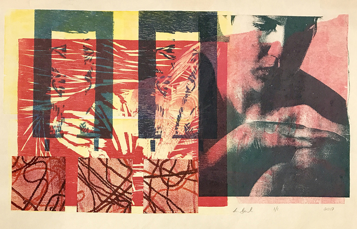"""Anne Beidler   finding solace   relief, silkscreen and collage print (24"""" x 30"""")  $500"""