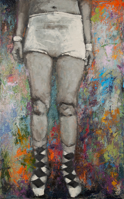 "Meghan Bissonnette   His Socks   Oil on canvas (48"" x 30"")  $750"