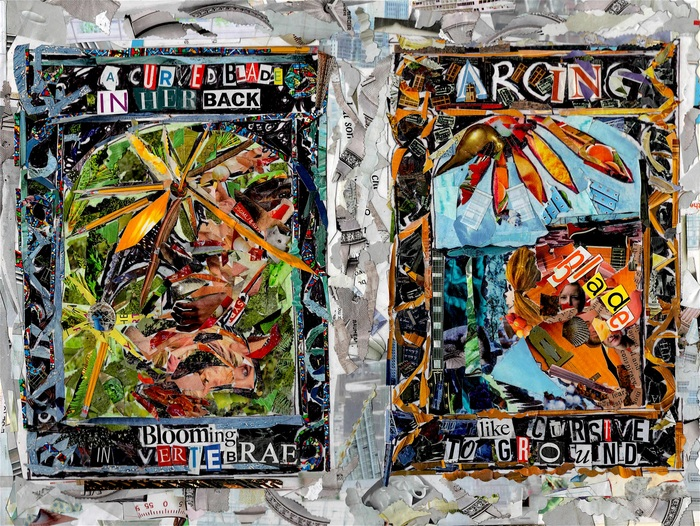 """Michael & Sarah Chaney   Blade Back Girl 3 and 4   paper collage on mounted paper (9"""" x 12"""")  $300 WINNER - SECOND PRIZE"""