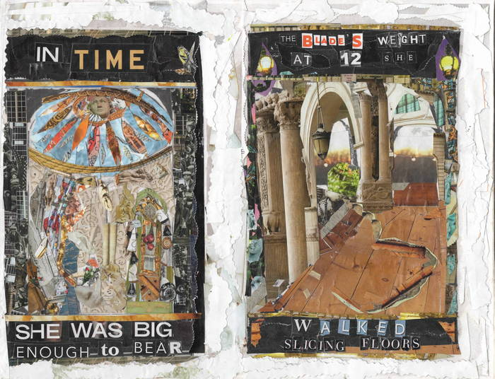 """Michael & Sarah Chaney   Biography of a Blade Back Girl 5 and 6   paper collage (9"""" x 12"""")  $260 WINNER - SECOND PRIZE"""