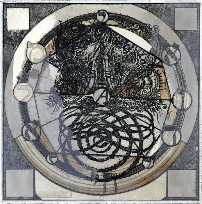 """Christopher Stephen Daniggelis   AV: image/object   Etching on copper with chine colle & collage (15"""" x 15"""")  $2500"""