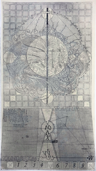"""Christopher Stephen Daniggelis   Fraktur Antiqua Chart: Measurement, Crisis of One Outcome   Etching on copper with Collage and Chine Colle (36"""" x 22"""")  $8000"""
