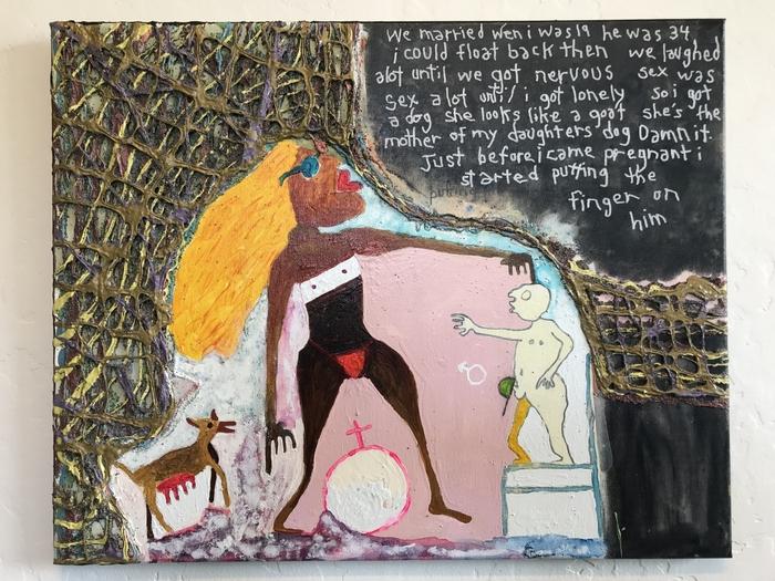 "Robert Gann   The Finger    (       Panel 1 of 3)      Mixed Media on canvas (16"" x 20"")  $350"