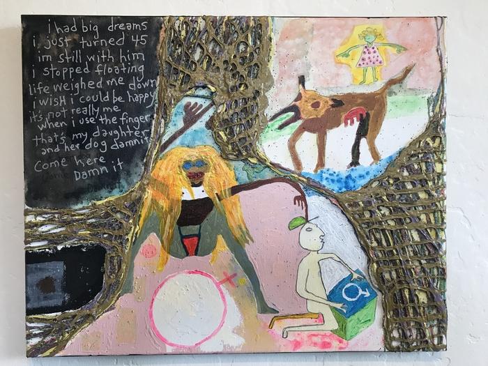 "Robert Gann   The Finger    (       Panel 3 of 3)      Mixed Media on canvas (16"" x 20"")  $350"