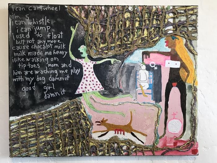 "Robert Gann   The Finger    (       Panel 2 of 3)      Mixed Media on canvas (16"" x 20"")  $350"