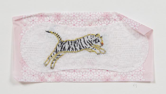 "Kay Gordon   Feminist Hygiene: Flying Tiger   Silk thread embroidery on sanitary napkin (12"" x 9"")  $590"