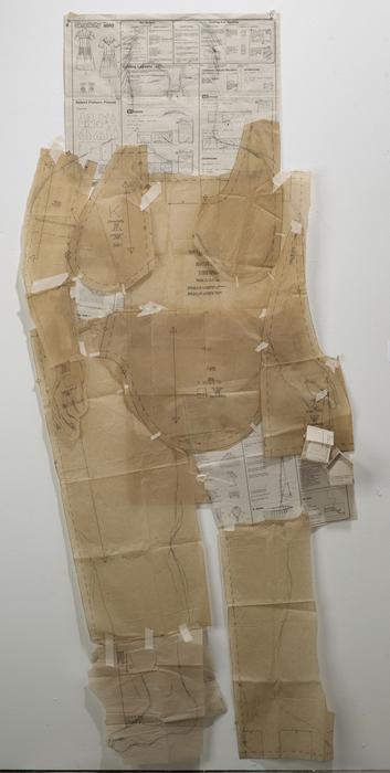 "Sharon Harper   simplicity   pattern paper, graphite, thread, tape (67"" x 27"" x 3"")  $850"