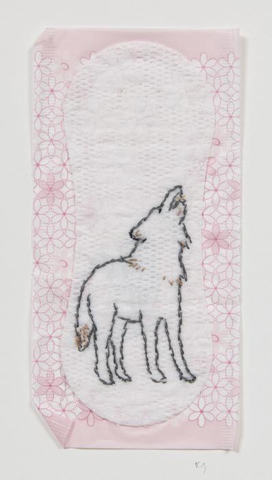 "Kay Gordon   Feminist Hygiene: Wolf   Silk thread embroidery on sanitary napkin (12"" x 9"")  $590"