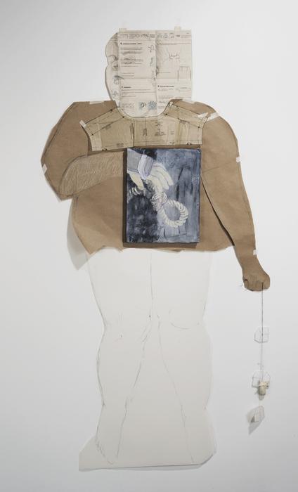 "Sharon Harper   splint   mylar, brown paper, canvas board, pattern paper, cotton, thread (62"" x 38"")  $1000"
