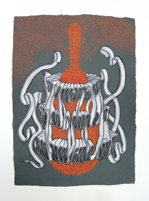 "Heidi Jensen   Flee   Gouache, Charcoal on Khadi Paper     (30"" x 22"")  $2000"