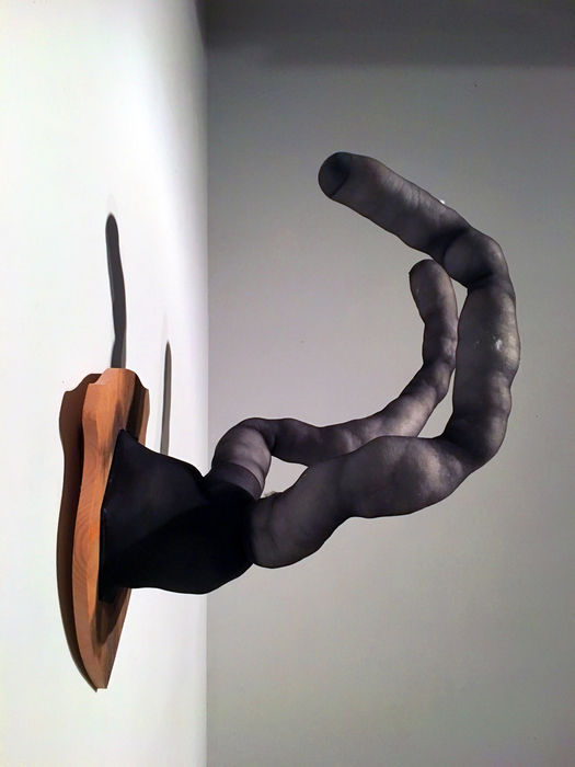 "Katie Ott   Trophy   Wood, pantyhose, stuffing, steel, cut tacks (36"" x 30"" x 24"")  $800"
