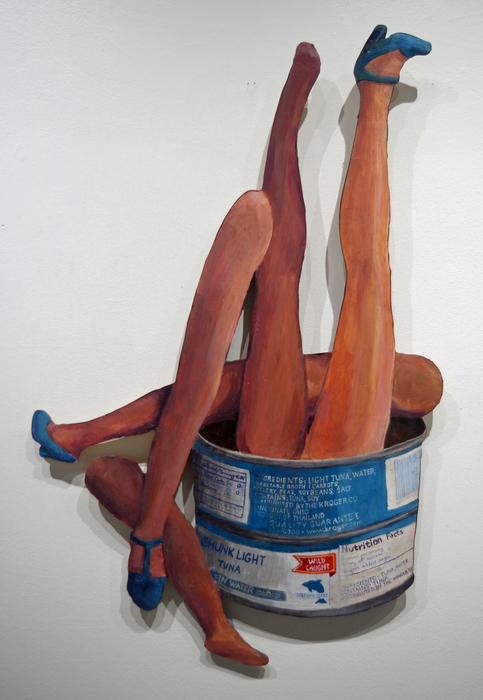 "A. M. Schaer   Barbie Legs in a Tuna Tin Variation 2   Acrylic on laser cut birch panel (41"" x 27"")  $600"