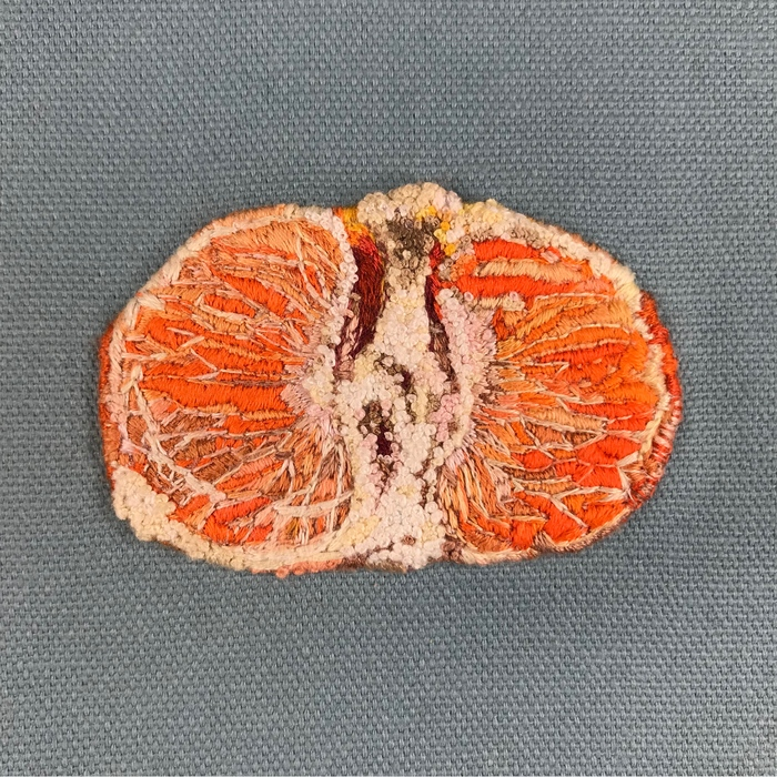 """Teresa Shields   My Darling Clementine   Embroidery floss french knots on canvas (5"""" x 5"""")  $1800"""