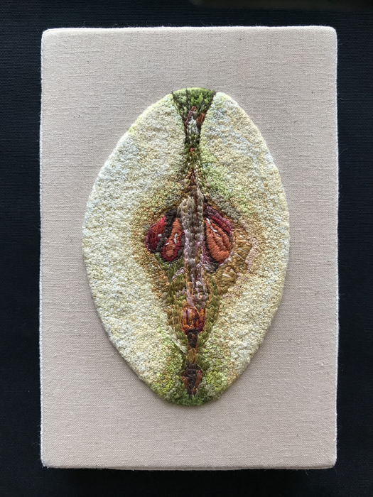 """Teresa Shields   One Bad Apple   embroidery floss(french Knots) on cotton background (6"""" x 4"""")  $1200"""