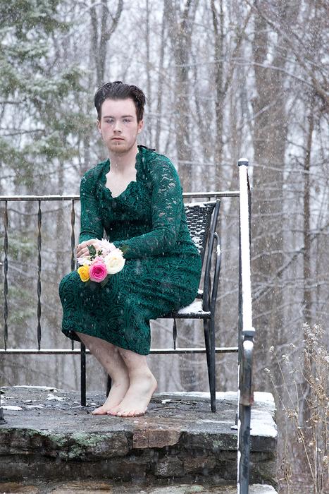 """Alan Vincent   Self Portrait In Mother's Dress   Pigment Print (20"""" x 26"""")   NFS"""