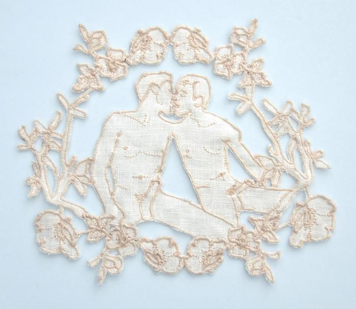 """Mia Weiner   Together   Linen, thread; cutwork lace (5.25"""" x 5.75"""")  $1200"""
