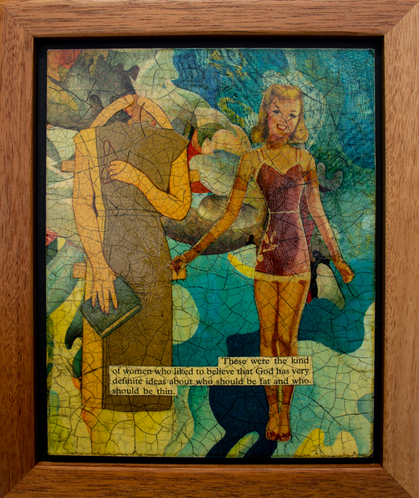 """Catherine Walker   These Were the Kind of Women Who Liked to Believe   Mixed media collage (12.5"""" x 10.5"""")  $850"""