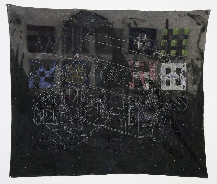 """Henry Bell -   Quilt #2 -   Oil, embroidery, metal studs, quilt (72"""" x 72"""" )  $6000"""