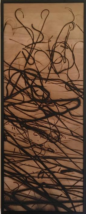 "Natalie Colao -   Untitled -   Glass burned wood panel (30"" x 12"")  $250"