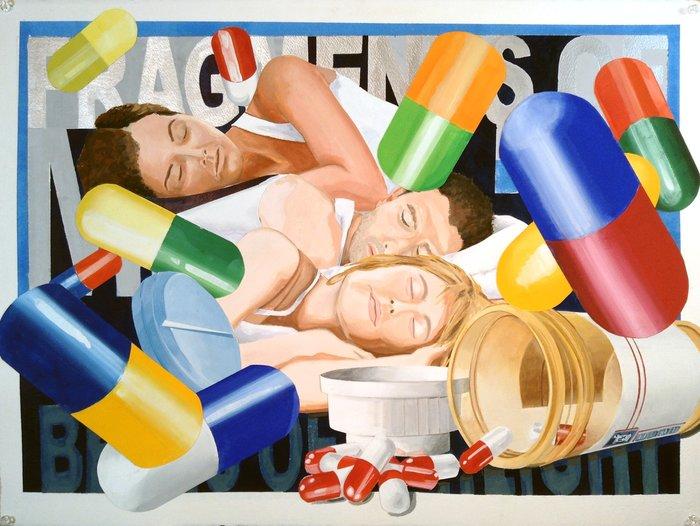 """Jeffrey Hartman -   OT #16 - Fragments of Memory   Gouache (22"""" x 30"""")  $1400"""