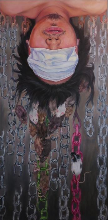 "Yue Li -   Zodiac Series - Self Unbound -   Oil on canvas (48"" x 24"")  $20000"