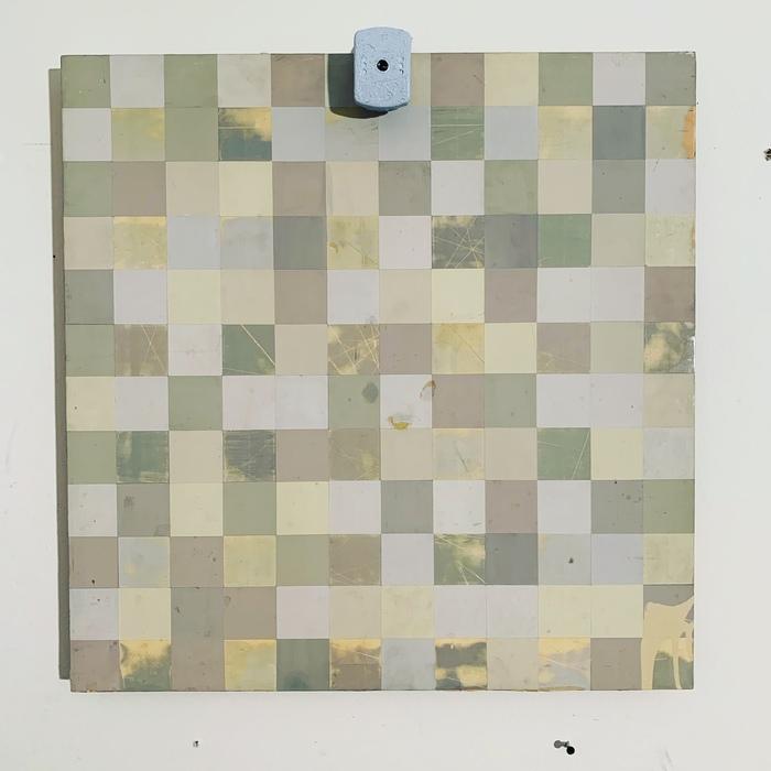 "Warren Lloyd -   Target Poem (Embedded) -   Track Housing Paint, Surveillance Camera, Wood (23.5"" x 24"")  $750"