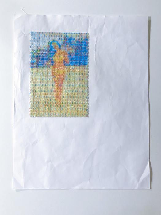 "Jessy Lu -   CMYK Babe -   Glass beads, printer paper (11"" x 8.5"")  NFS"