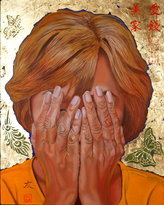 """Thu Nguyen -   Lost -   oil and 24 kt gold leaf on panel (20"""" x 16"""")  $2500"""