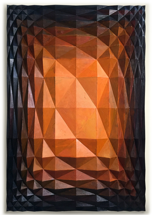 """David Rockwell -   Untitled (Logarithmic Grid I) -   Acrylic, oil and 3D printing on wood panel (36"""" x 24"""" x 3"""")  $4500"""