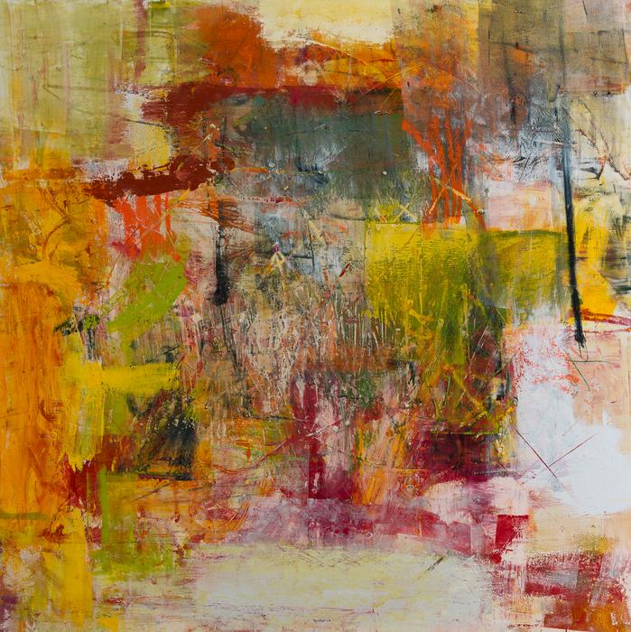 "Sallie Strand -   Love and Hate -   oil on wood (36"" x 36"")  $2000"