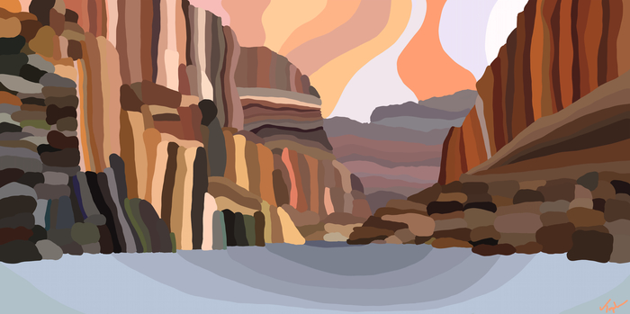 """Topher Straus -   Grand Canyon National Park -   Dye Sublimation on Aluminum (30"""" x 60"""")  $4500"""