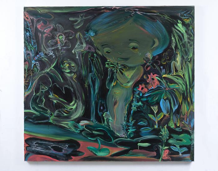 "Tseng Tsailing -   Farewell Dragonfly -   Oil on canvas (50"" x 55"")  $1500"