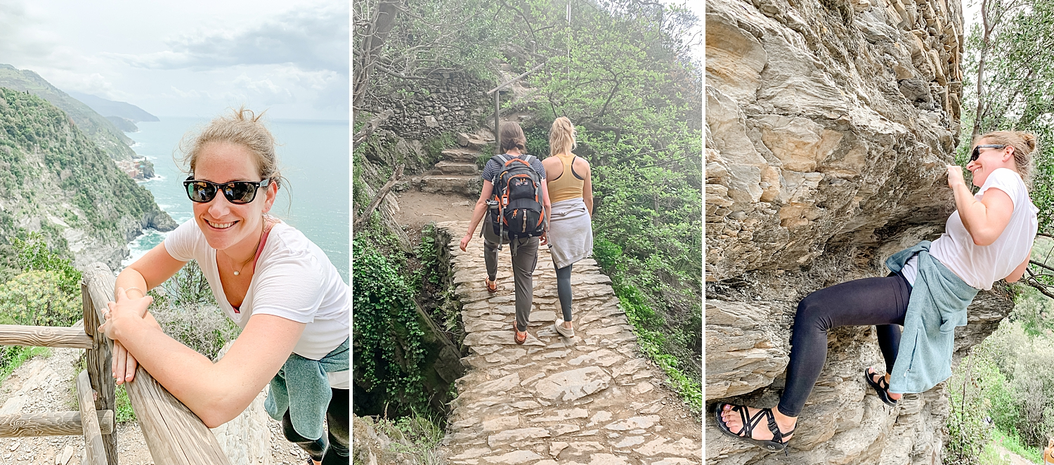 We were told that hiking sandals were not proper footwear before entering the trail… psh ok. Then we were reminded again as a group of old Italian hikers proceeded to yell at our feet while trying to poke us with their walking sticks!! Talk about a scolding! ;D