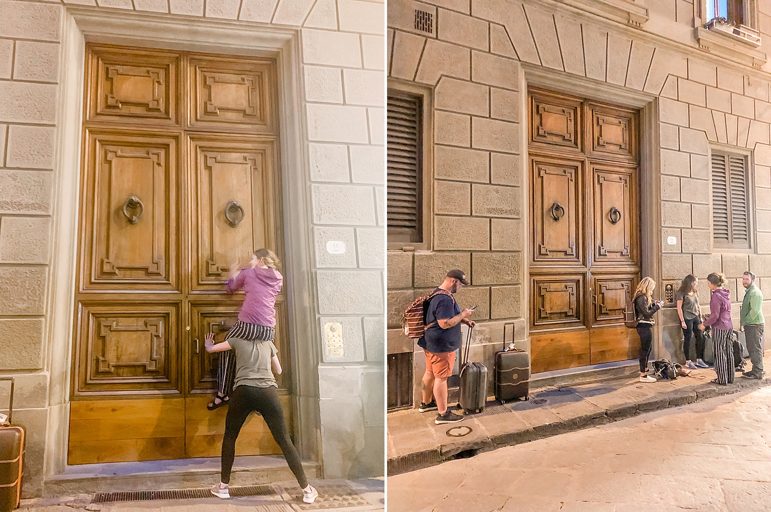 Our first-night Airbnb had a large door… we found a way to get to the knocker though…