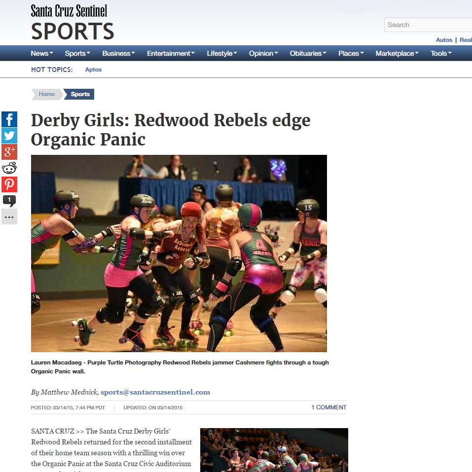 Santa Cruz Sentinel:Derby Girls: Redwood Rebels edge Organic Panic By Matthew Mednick