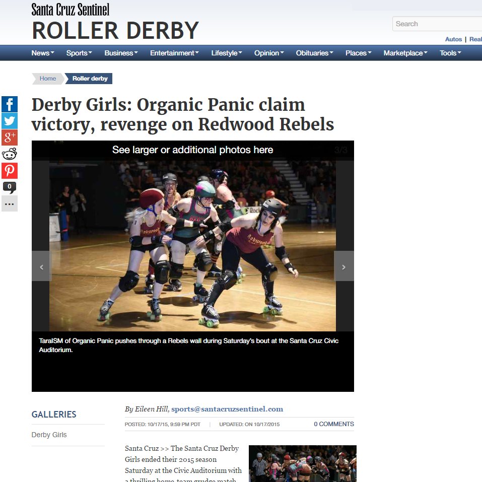 Santa Cruz Sentinel:  Derby Girls: Organic Panic claim victory, revenge on Redwood Rebels By Eileen Hill