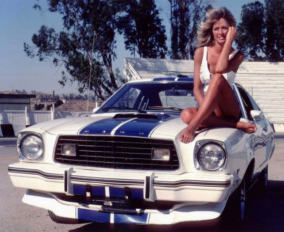 Farah Fawcett with the Mustang Cobra she drove on Charlie's Angels