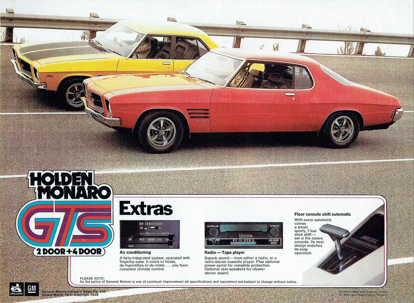 1972 HQ Monaro GTS coupe and sedan