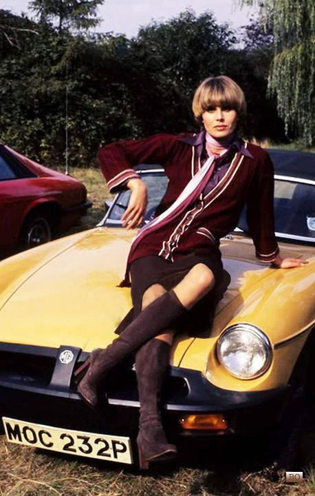Joanna Lumley and a mid '70s MGB