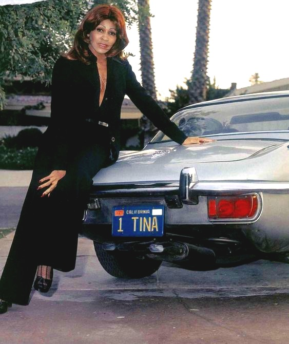 Tina Turner and a Series III XK-E convertible
