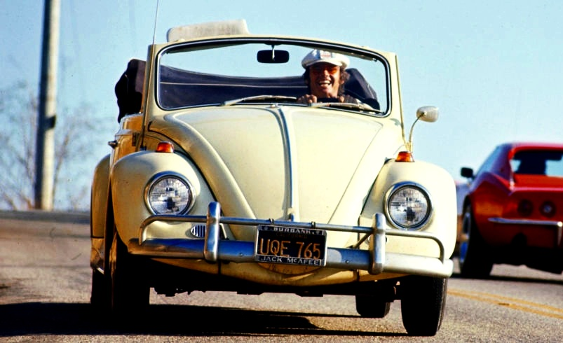 Jack Nicholson at the wheel of his veedub ragtop