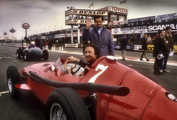 Pink Floyd's Nick Mason at the wheel of his vintage racing Ferrari