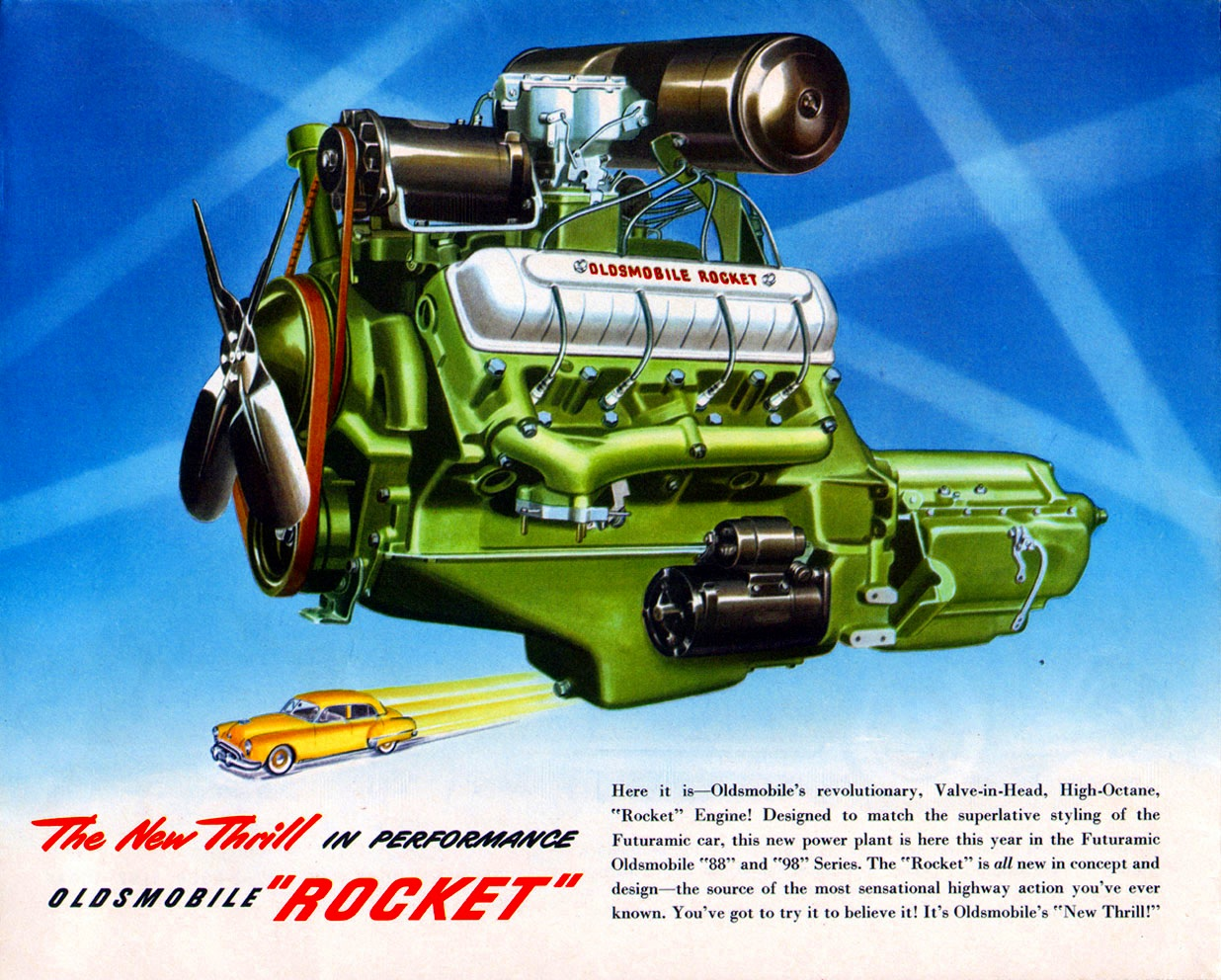 Oldsmobile's Rocket V8 introduced in 1949 - first of the new ohv V8s that would dominate the industry