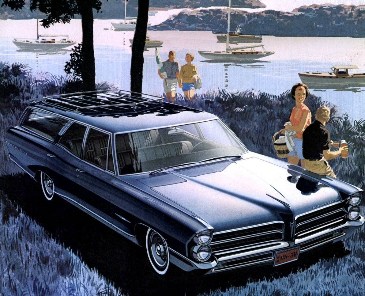 Even the humble station wagon was beautifully rendered by Fitzpatrick and Kaufman - 1965 Pontiac Bonneville in yet another idyllic setting
