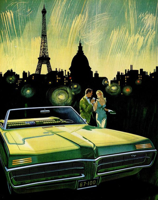 'Fete de Paris' - 1967 Pontiac Gran Prix and Paris by night..an irresistible combination by Fitzpatrick and Kaufman