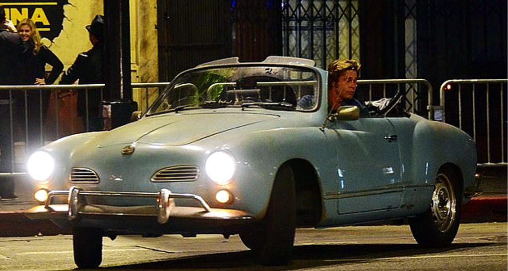 Cliff Booth giving the Karmann Ghia a workout on the street